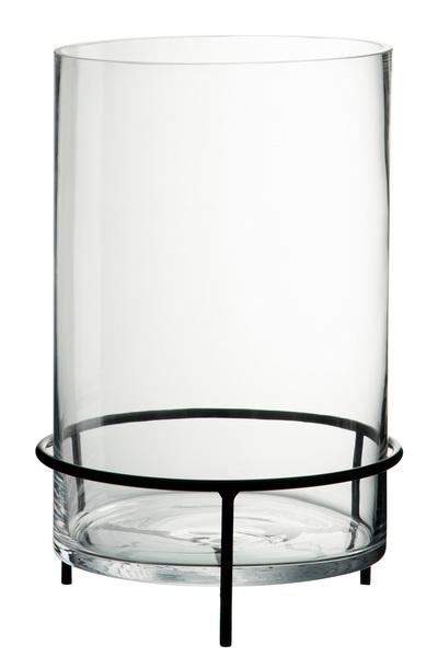 Windlicht Op Voet Cilinder Glas/Metaal Transparant/Zwart Large
