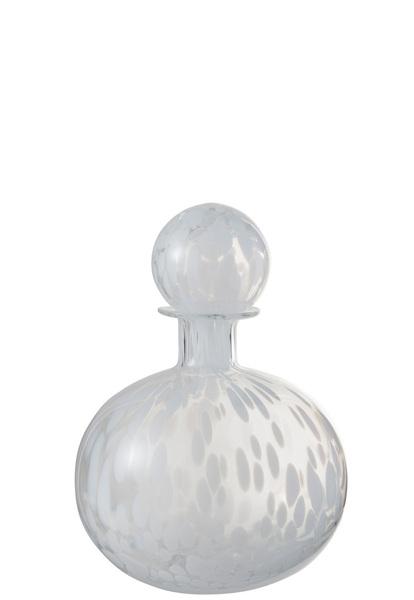 Fles+Stop Stip Decoratief Rond Glas Transparant/Wit