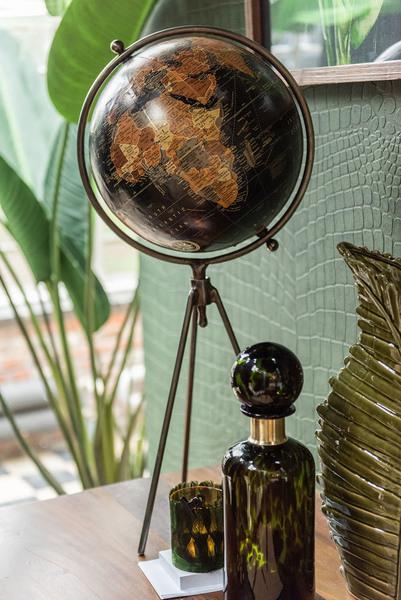 Fles+Stop Spikkel Decoratief Glas Groen/Zwart/Goud Large