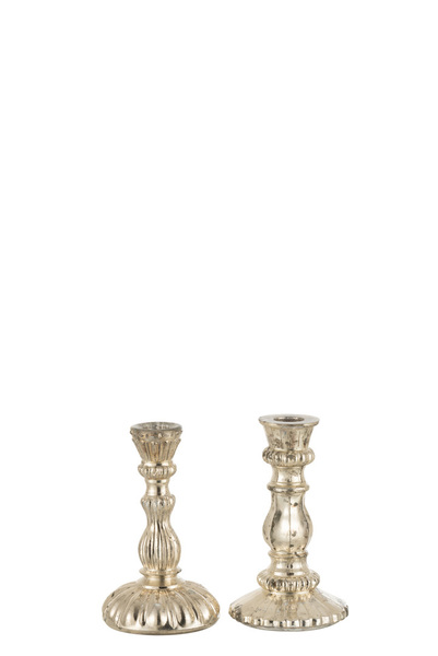 Kandelaar Oriental Glas Zilver Small Assortiment Van 2
