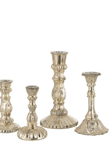 Kandelaar Oriental Glas Zilver Large