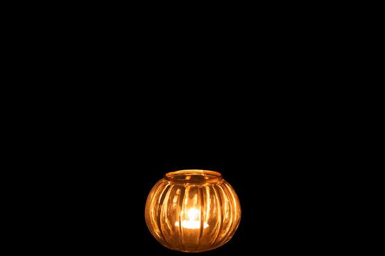 Windlicht Bol Streep Glas Transparant/Goud Small