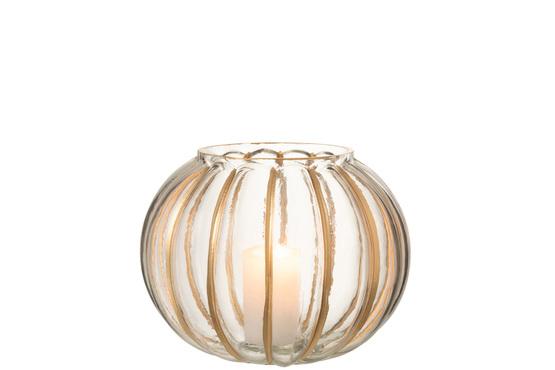 Windlicht Bol Streep Glas Transparant/Goud Medium
