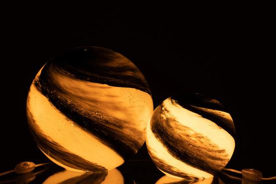 Lamp Dany Rond Glas Wit/Zwart Large